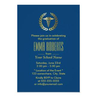 Medical or Nursing School Navy Blue Graduation 5x7 Paper Invitation Card