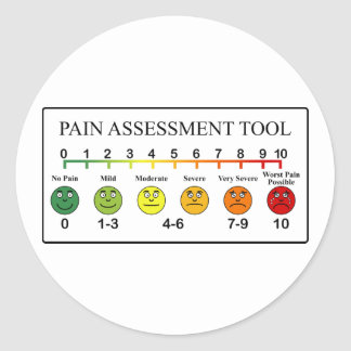 Medical Pain Assessment Tool Chart Classic Round Sticker