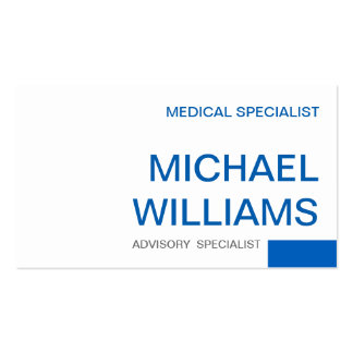 MEDICAL PROFESSIONAL BLUE WHITE SPECIALISTIC PACK OF STANDARD BUSINESS CARDS