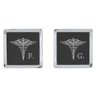Medical Professional Custom Initials Caduceus Silver Finish Cuff Links