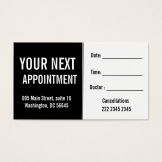 Medical Psysicians Hospital Patient Appointment Business Card