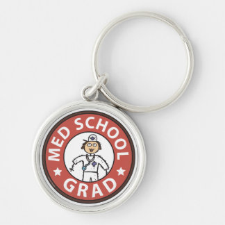 Medical School Graduation (Female) Silver-Colored Round Key Ring