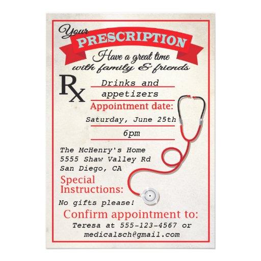 Medical School Graduation Prescription Invitation