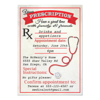 "Medical School Graduation Prescription Invitation 5"" X 7"" Invitation Card"