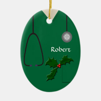 Medical Scrubs Green Holly Oval Ornament