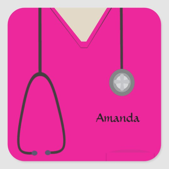 Medical Scrubs Hot Pink Sticker