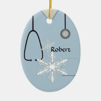 Medical Scrubs Light Blue Snowflake Oval Ornament