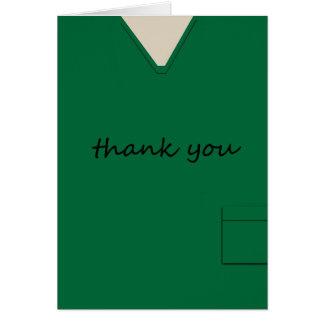 Medical Scrubs Nurse Doctor Dark Green Thank You Note Card