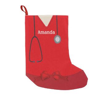 Medical Scrubs Red Christmas Stocking