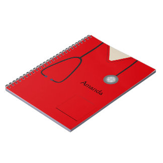 Medical Scrubs Red Notebook