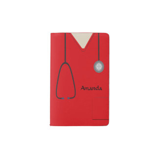 Medical Scrubs Red Pocket Notebook