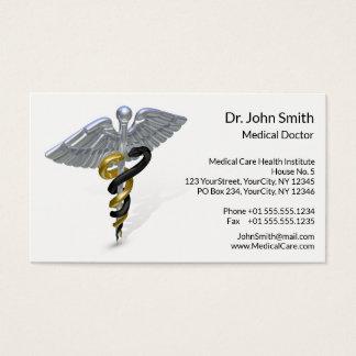 Medical Silver Caduceus Black Gold - Business Card