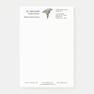 Medical Silver Caduceus Black Gold Post-it® Notes