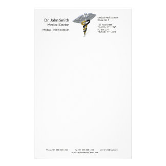Medical Silver Caduceus Black Gold - Stationery