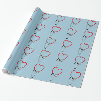 Medical Stethoscope Gift Wrap Blue Wrapping Paper