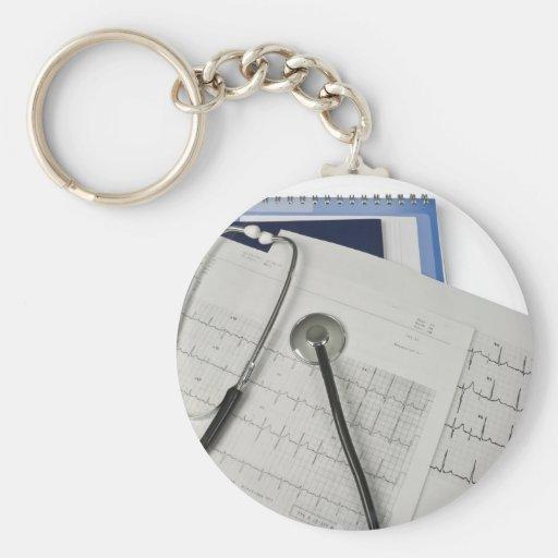 medical stethoscope on cardiogram EKG readings Key Chain