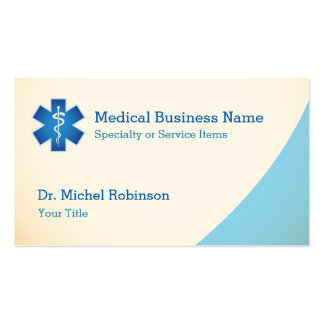 Medical Symbol Staff of Asclepius - Cream Blue Pack Of Standard Business Cards