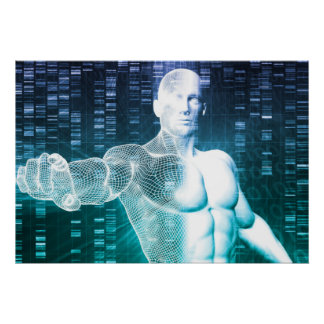 Medical Technology with Scientist Engineer on DNA Poster