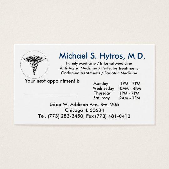 medicalsymbol2, Michael S. Hytros, M.D., Family Business Card
