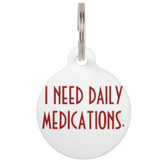Medication Alert Dog Tag Pet Tag
