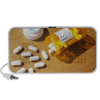 Medication spilled on table travel speaker