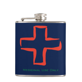 Medicinal use only with stylized red cross symbol hip flask
