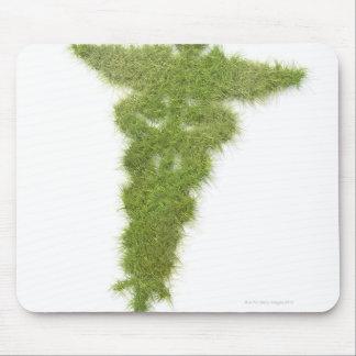 Medicine symbol made of grass mouse mat