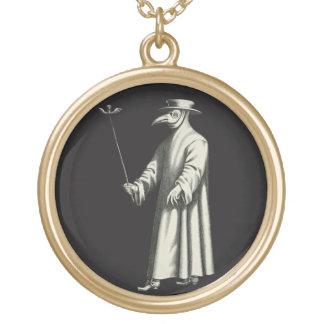 Medico Della Peste Plague Doctor Bird Beak Costume Gold Plated Necklace