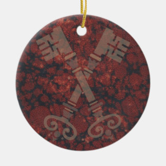 Medieval 21st keys against dark red marble christmas ornament