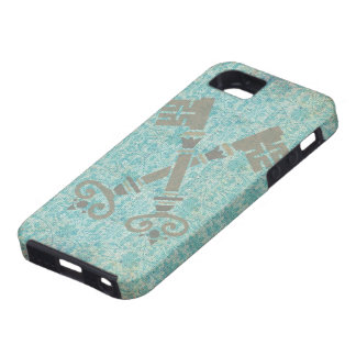 Medieval 21st keys against vintage blue pattern iPhone 5 covers