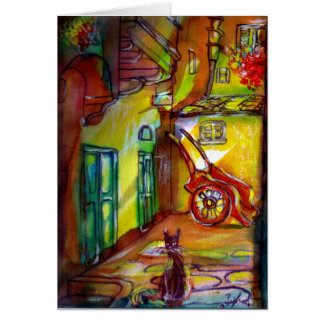 MEDIEVAL ALLEY BY NIGHT IN FLORENCE WITH BLACK CAT GREETING CARD