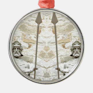 Medieval background with knight in armour christmas ornament