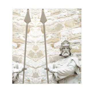 Medieval background with knight in armour notepad