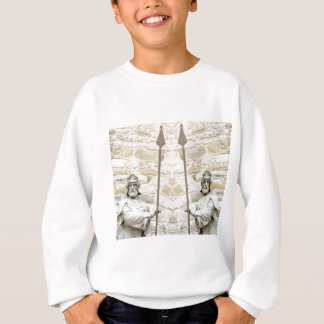 Medieval background with knight in armour sweatshirt