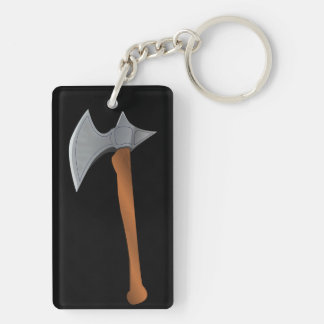Medieval Battleaxe Double-Sided Rectangular Acrylic Key Ring
