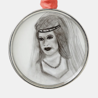 Medieval Bride Silver-Colored Round Decoration