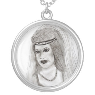 Medieval Bride Round Pendant Necklace