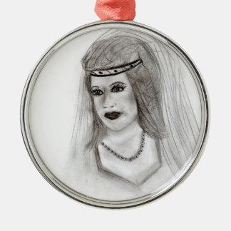 Medieval Bride Silver-Colored Round Decoration