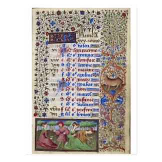 Medieval calendar: April Postcard