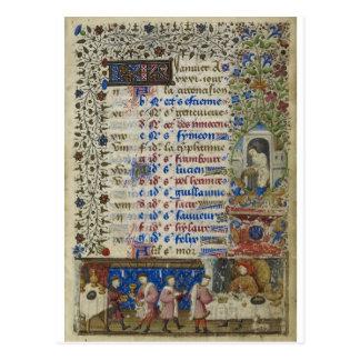 Medieval calendar: January Postcard