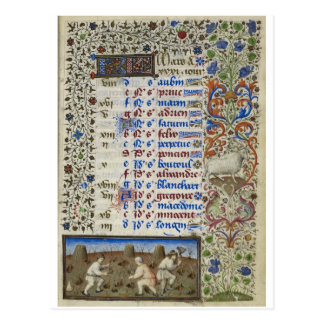 Medieval calendar: March Postcard