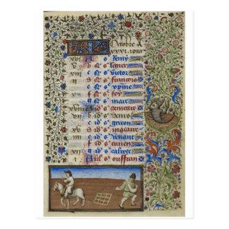 Medieval calendar: October Postcard