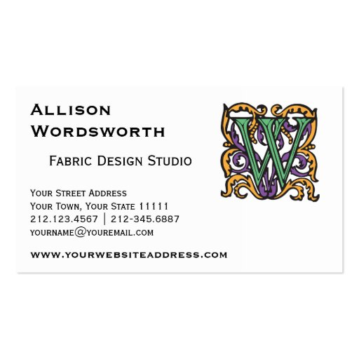 Medieval Calligraphy Elegant Letter W Business Card Templates