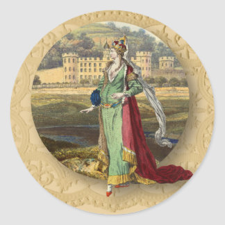 Medieval Castle and Queen Round Sticker