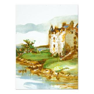 medieval castle knights ancient old antique brick 14 cm x 19 cm invitation card