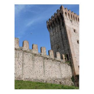 medieval castle knights ancient old antique brick postcard