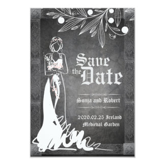 Medieval Celtic Bride Stone Wedding Invitation