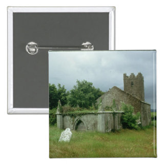 Medieval church and churchyard 15 cm square badge
