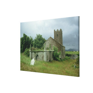 Medieval church and churchyard canvas print