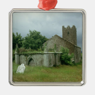 Medieval church and churchyard christmas tree ornament